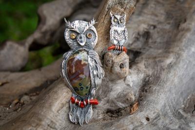 Brooch pendant «Owl» (small, large)