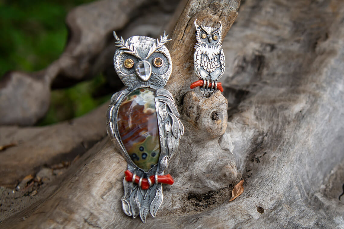 Brooch pendant «Owl» (small, large)