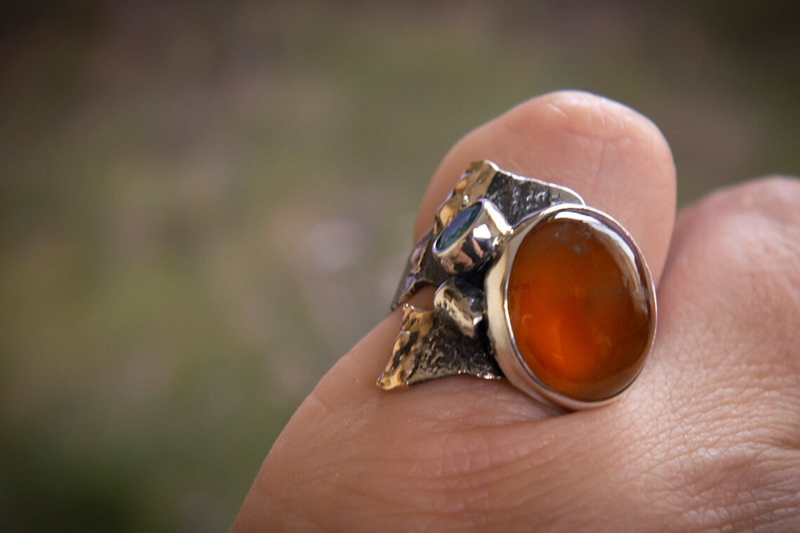 Кольцо с гранатом (спессартин)